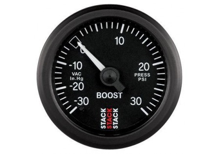 STACK 52mm Mechanical Boost Gauge - 30inHg to 30psi