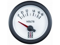 STACK 52mm Electric Battery Voltage Gauge - 8-18V White