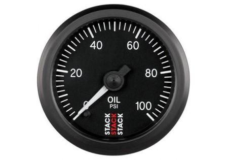 STACK 52mm Pro Stepper Analog Oil Pressure Gauge - 0-100 psi