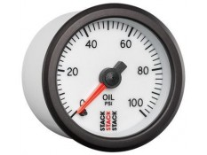 STACK 52mm Pro Stepper Analog Oil Pressure Gauge - 0-100 psi White