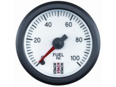 STACK 52mm Pro Stepper Analog Fuel Pressure Gauge - 0-100 psi White